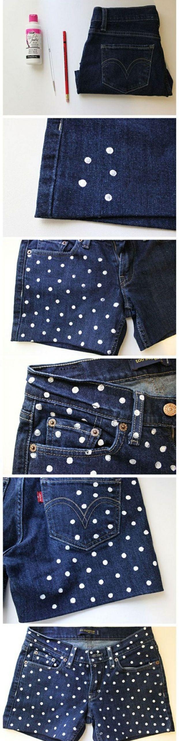 6 upcycling kleidung alte jeans weiße punkte diy idee kleider