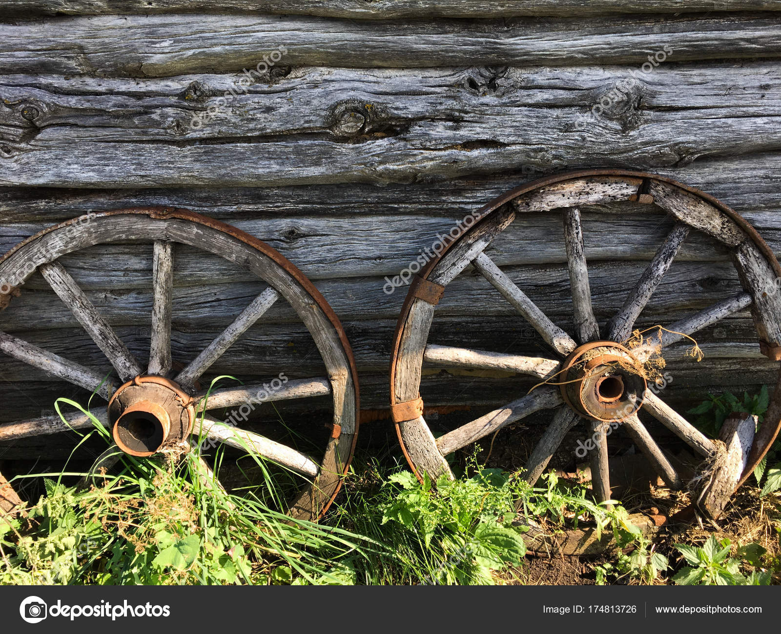 depositphotos stock photo old wooden wheels from a