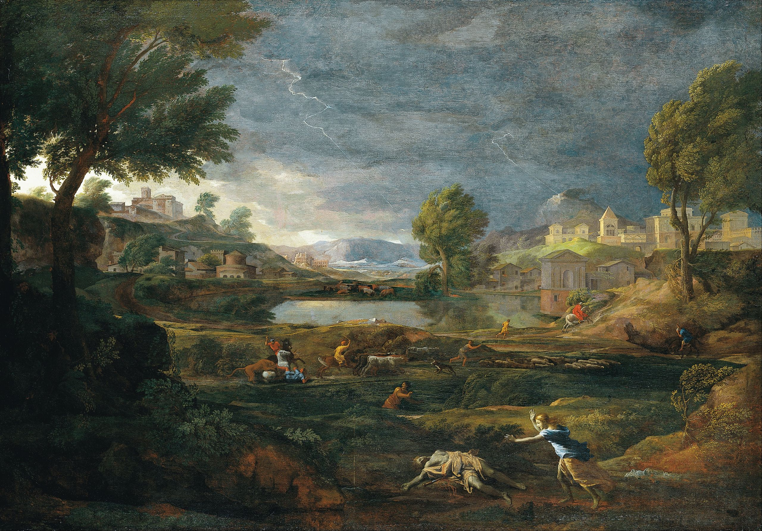 Nicolas Poussin Landscape during a Thunderstorm with Pyramus and thisbe Google Art Project