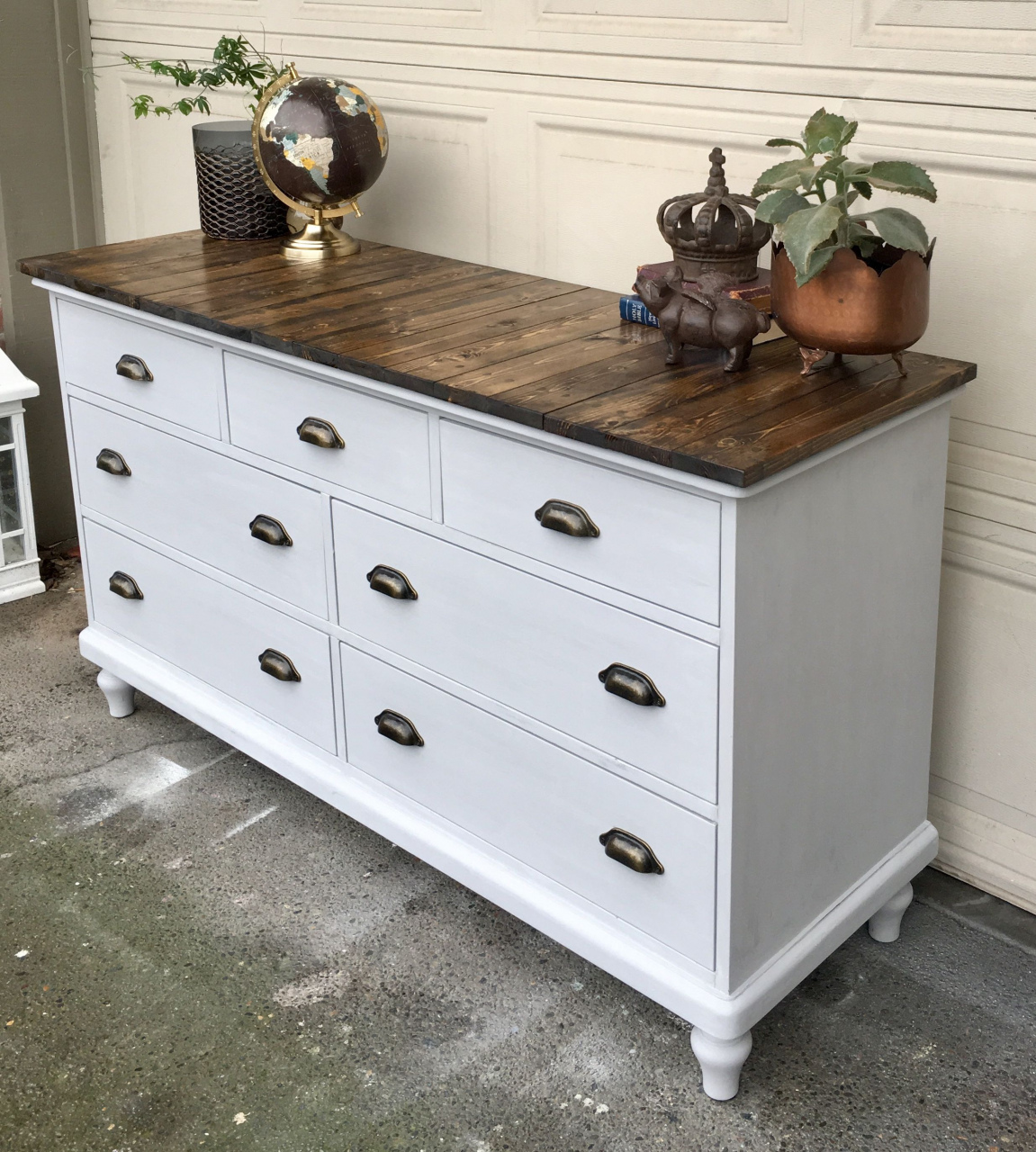 reclaimed wood dresser refinished pottery barn dresser painted in grey chalk paint new top durch reclaimed wood dresser