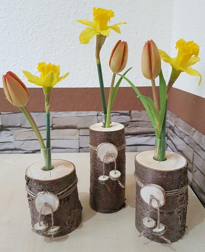 Baumstamm Dekorieren Garten Neu 3er Set Holzvase Vase Baumstamm Deko Holz Natur Tischdeko
