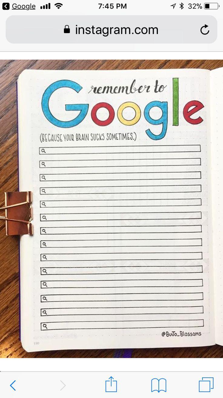 Benutzername Ideen Schön Remember to Google Bujo Collection