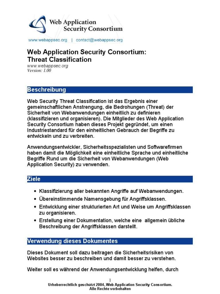 Benutzername Ideen Schön Web Application Security Consortium Threat Classification