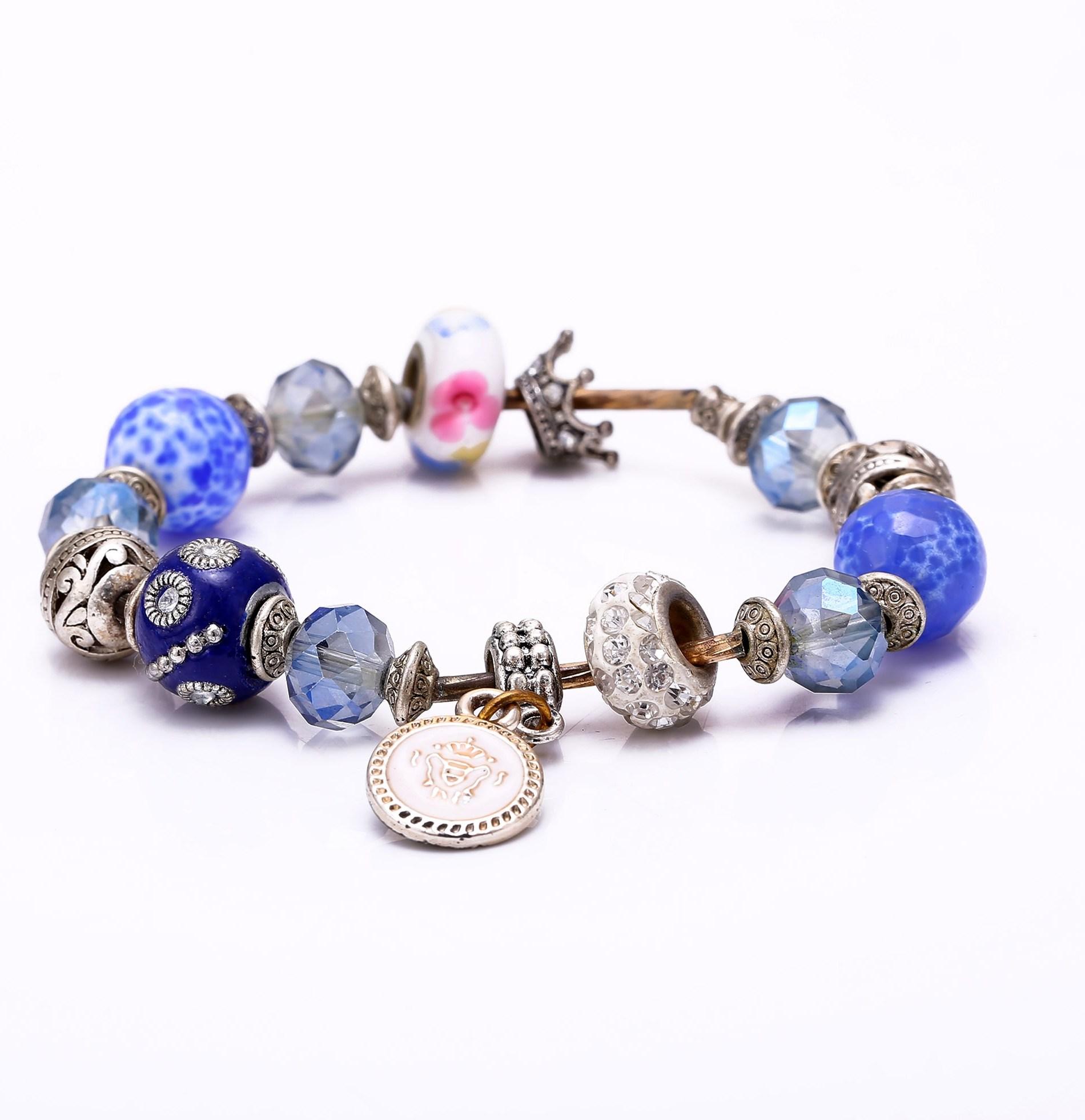 2017 Новый роскошный Корона Шарм Кристалл Бусины браслет для Для женщин Мода DIY ювелирных подходят оригинальный