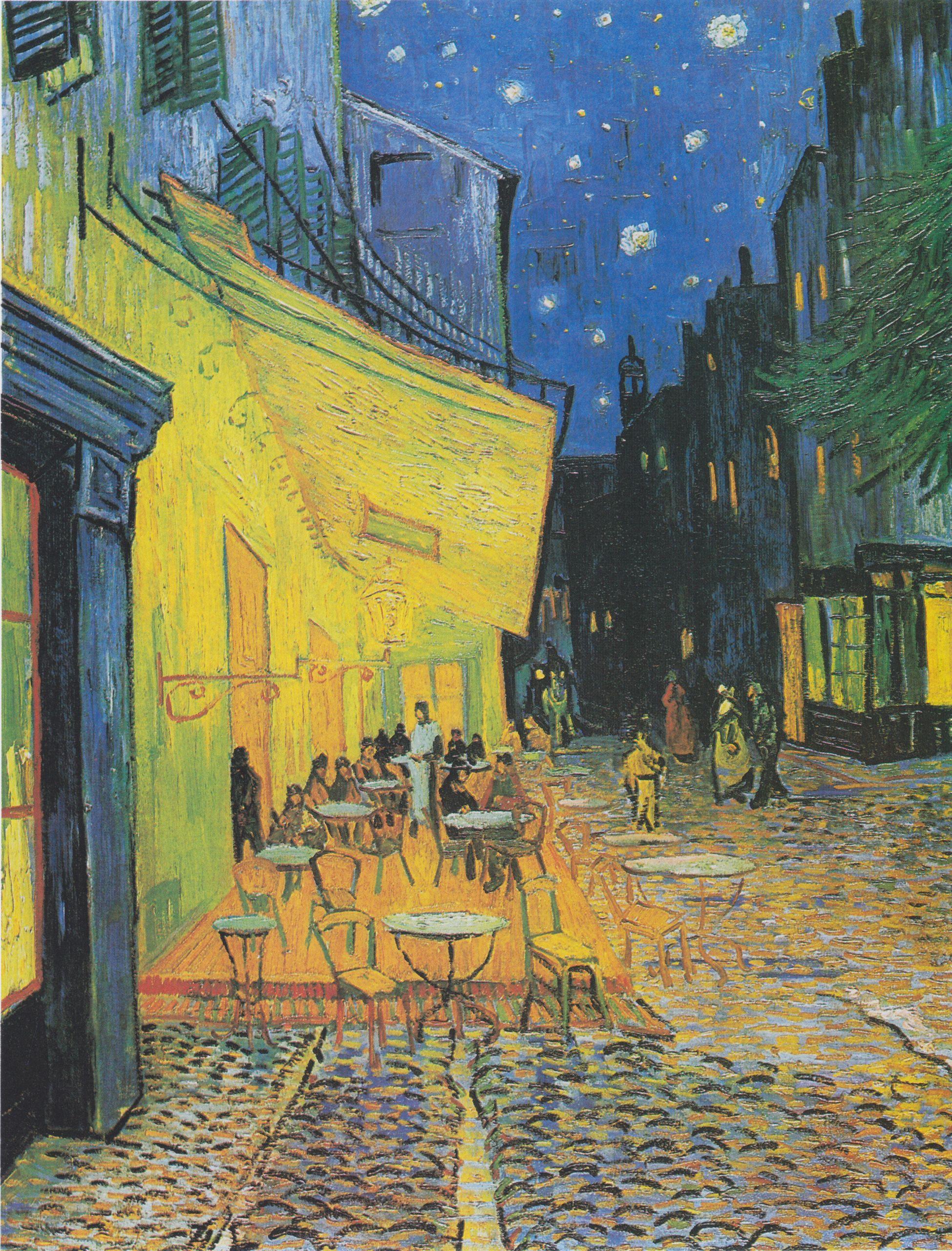 Van Gogh Terrasse des Cafés an der Place du Forum in Arles am Abend1
