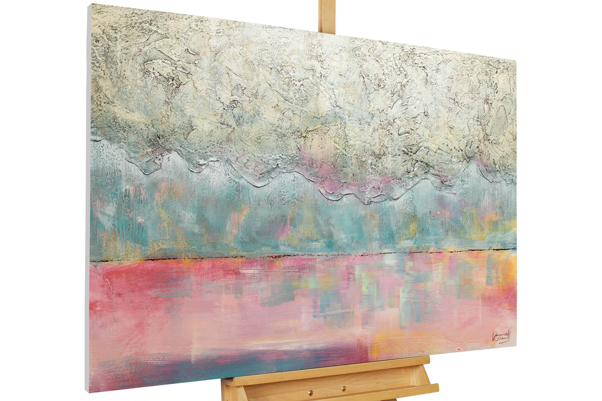 kl abstrakt t rkis pink pastell modern acryl gemaelde oel bild 02