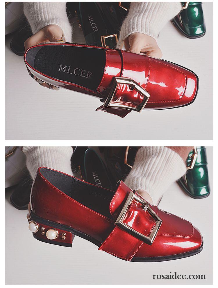Billige Schuhe Damen Lederschuhe Lackleder Neue Flache Schn? ?rschuhe Perle Retro Dick Vierkantkopf Damen Faul England v 4048