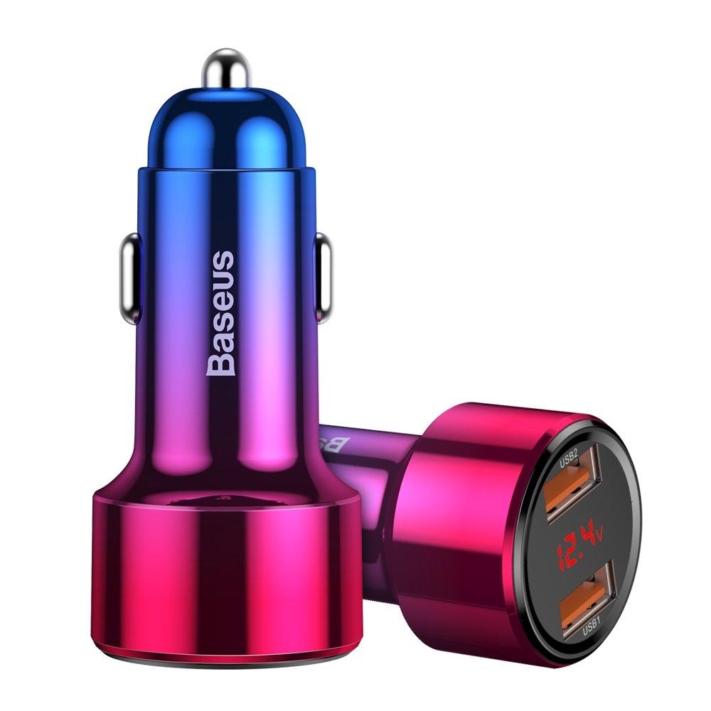 baseus magic series dual qc ladowarka samochodowa quick charge 3 0 2x usb 45w 6a czerwony ccmlc20a 09