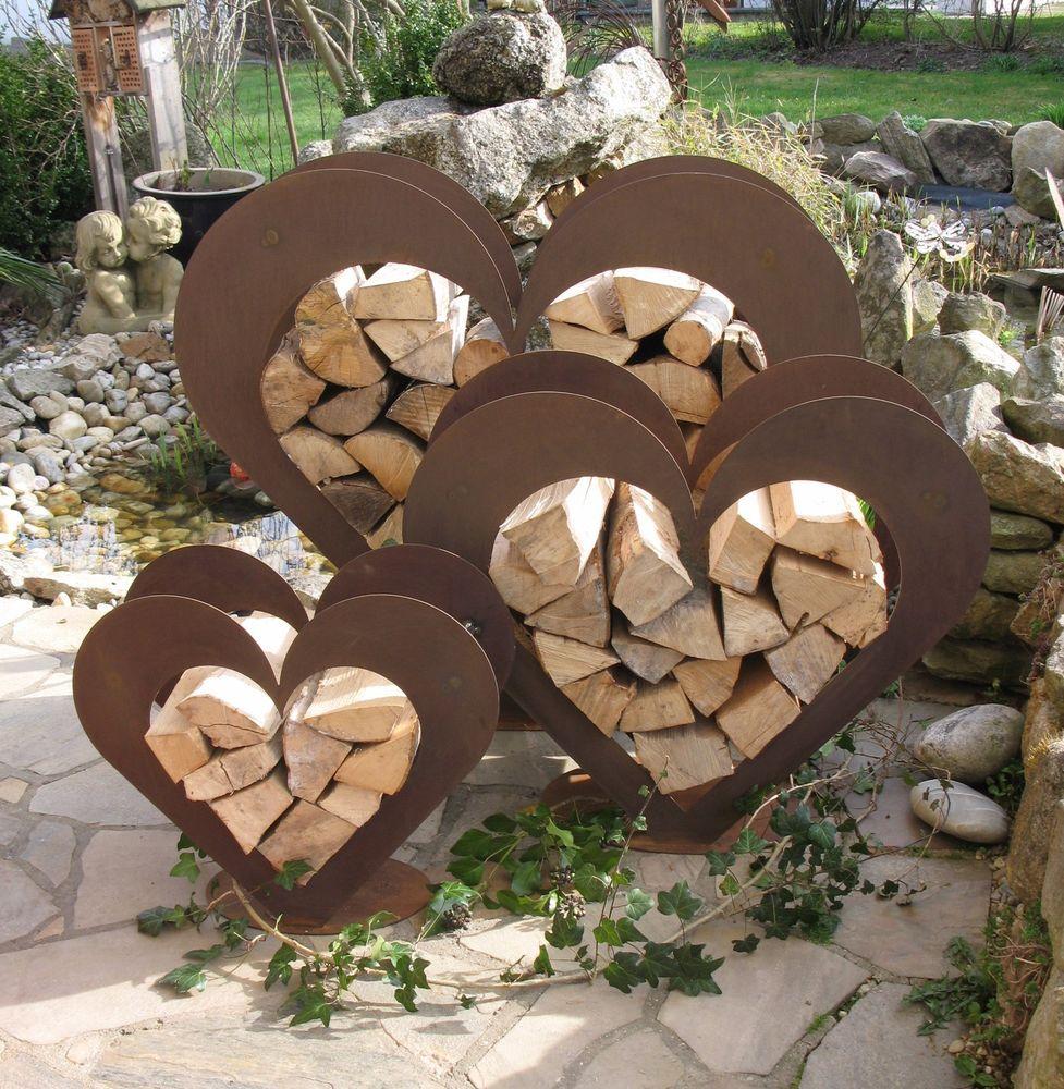 Blech Deko Luxus Herz Aus Metall Holz Regal Edel Rost Garten Terrasse