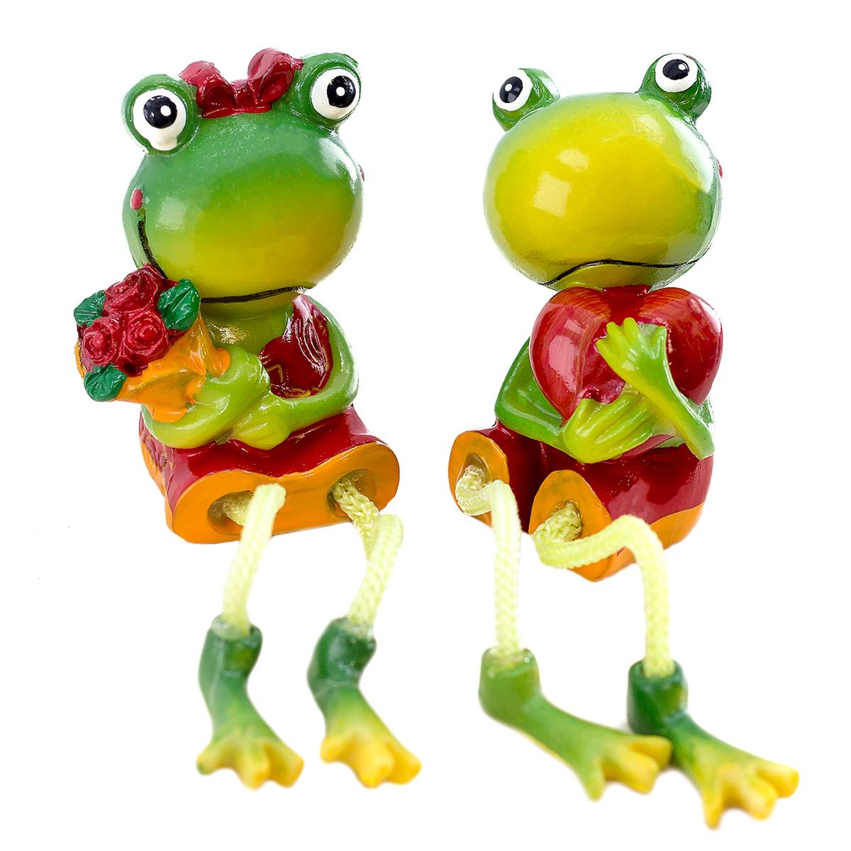art decor Frosch Kantenhocker 2er Set Frosch Liebespaar mit Blume und Herz Froschfigur Froschdekoration 1421 1 5 7p