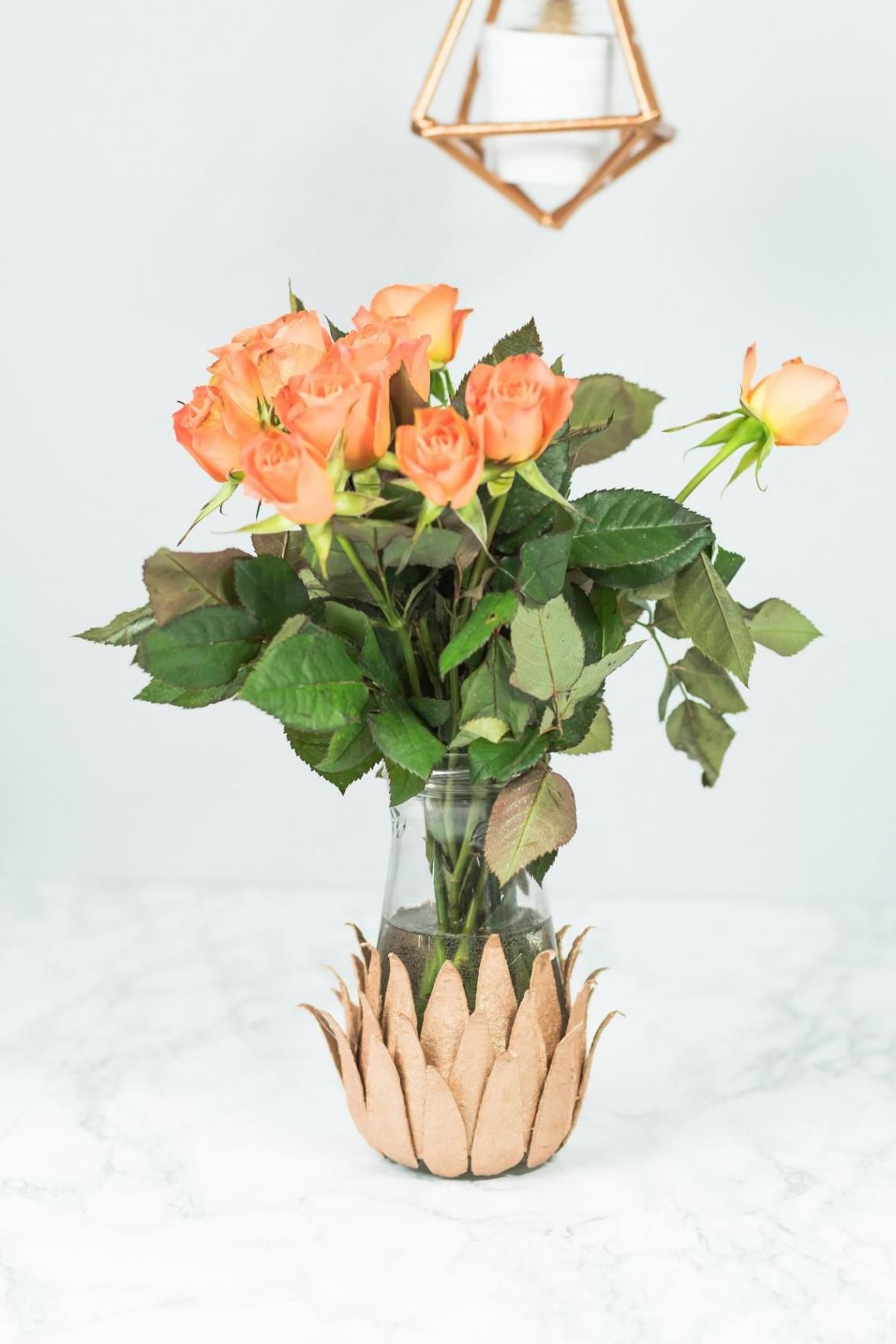 diy vase basteln schone zimmer deko idee in kupfer vase selber machen vase selber machen
