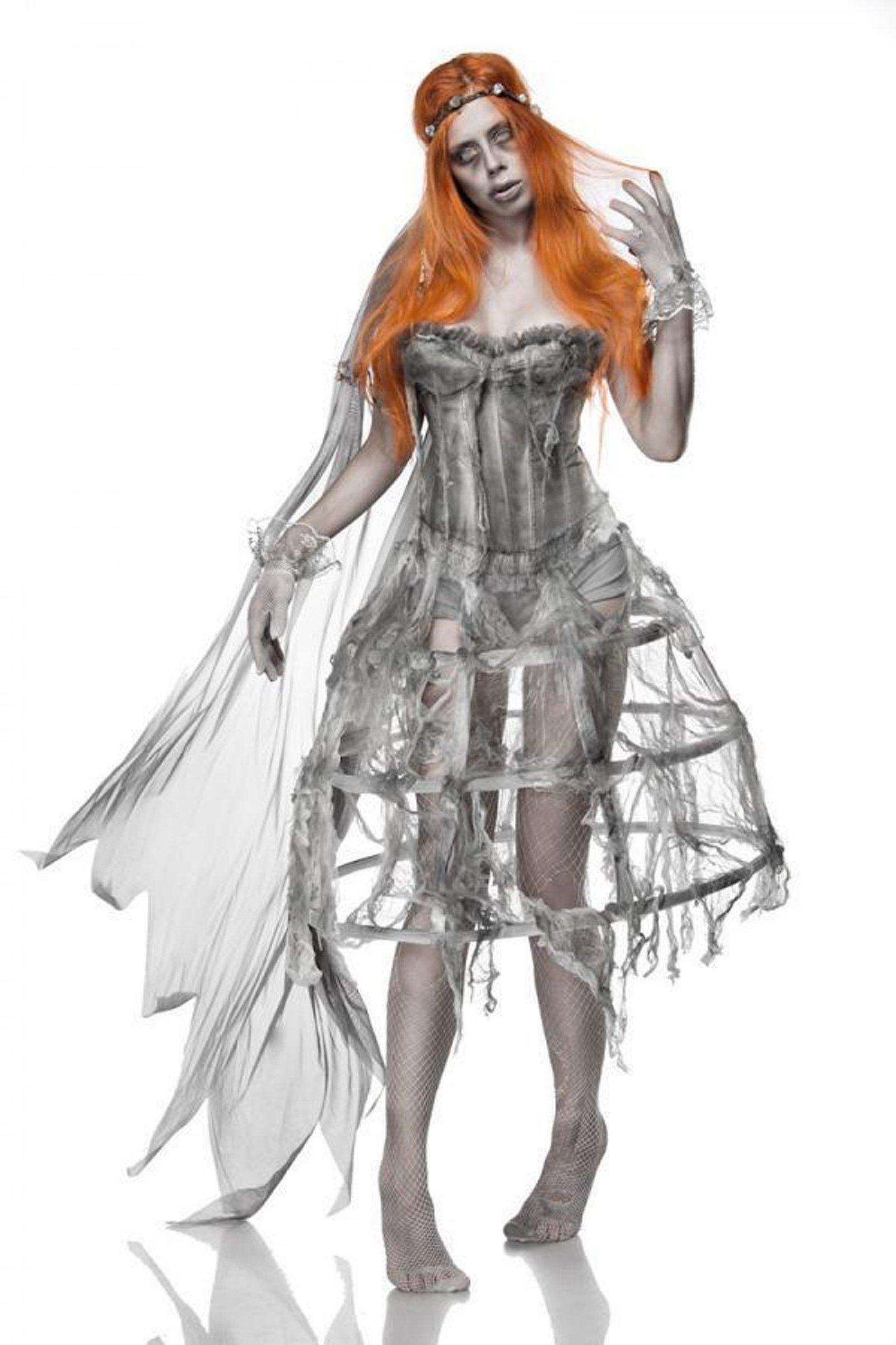 p zombie braut damenkostuem halloweenkostuem grau