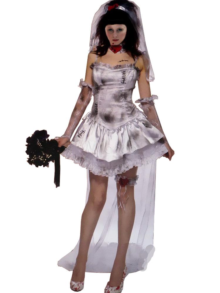 halloween leiche braut kostuem leichte graue grosse zombie damen kostuem cosplay p