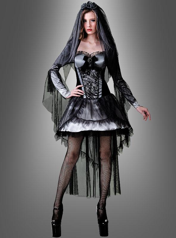 y Gothic Braut Damenkostüm Halloweenkostüm y Brautkleid schwarz
