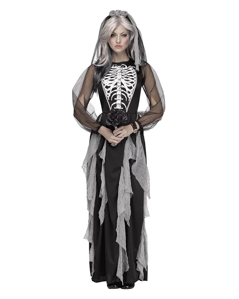 skelett braut damenkostuem