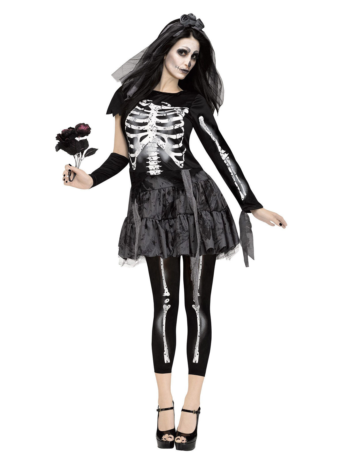 p skelett braut halloween damenkostuem schwarz weiss