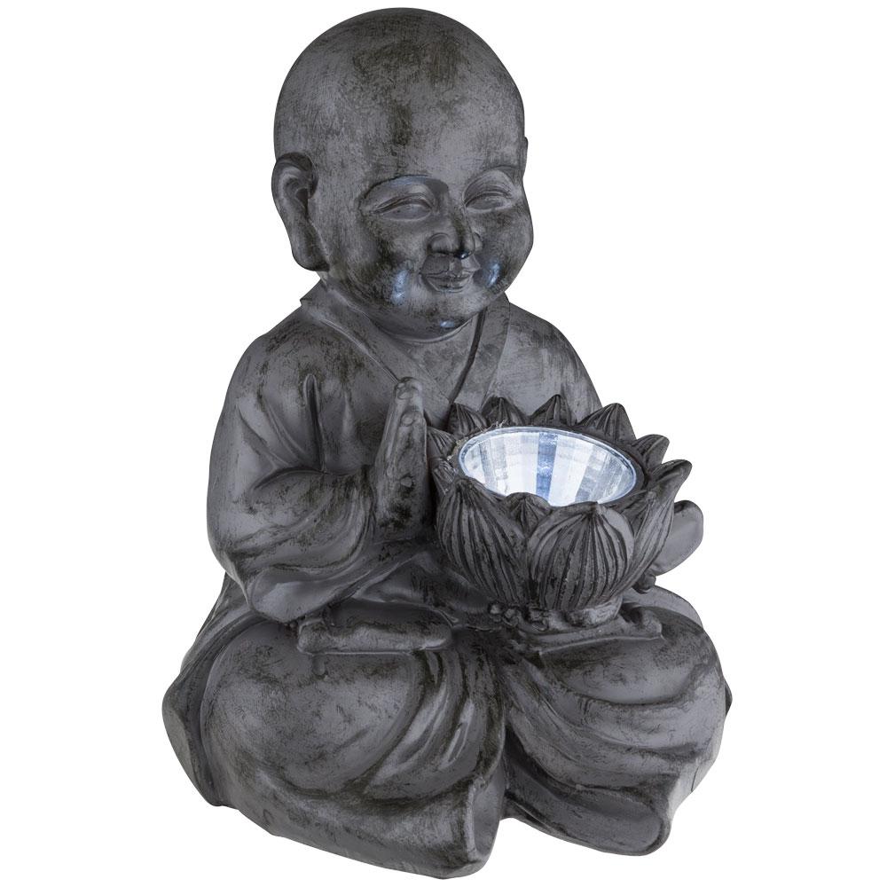led solar auen lampe buddha deko figur asia feng shui garten beleuchtung terrassen leuchte grau