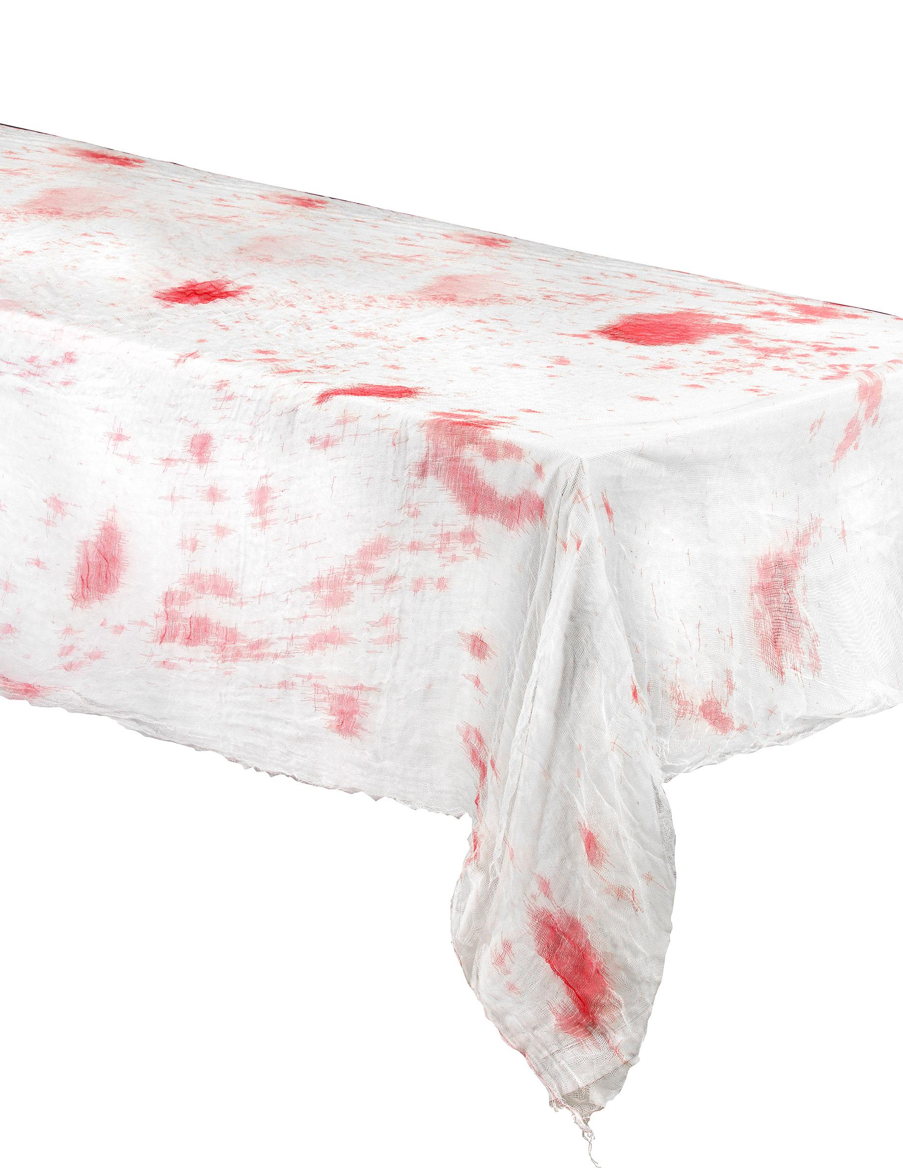 blutige tischdecke halloween deko weiss rot 2x1 5m