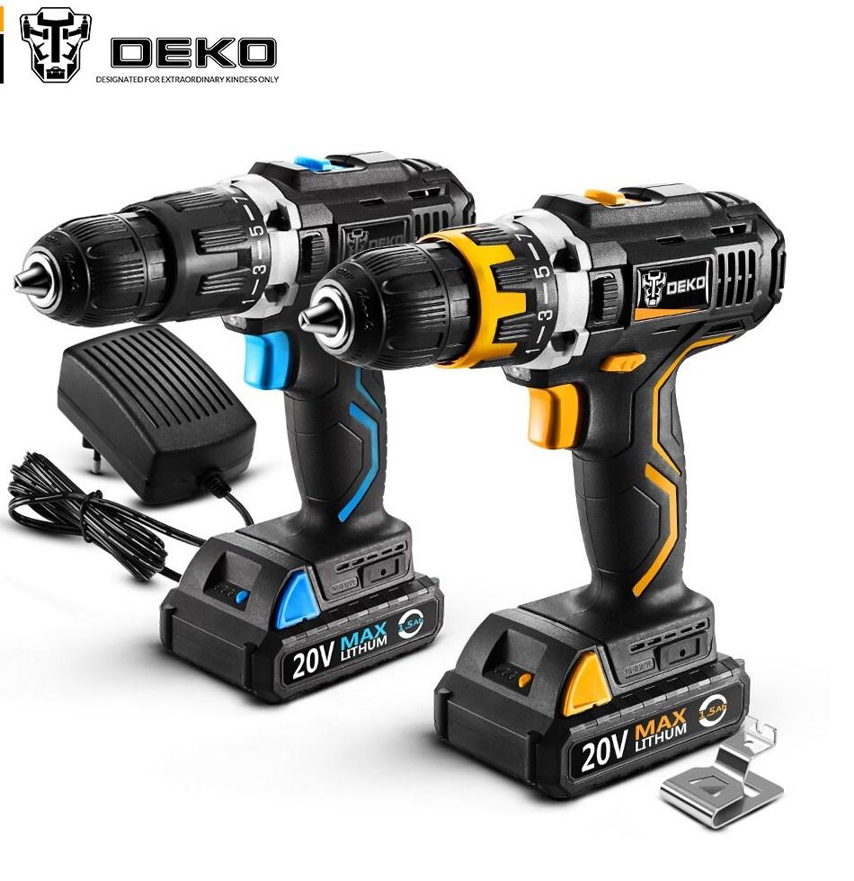 font b DEKO b font GCD20DU Series Electric Screwdriver Cordless Drill Impact Drill Power Driver