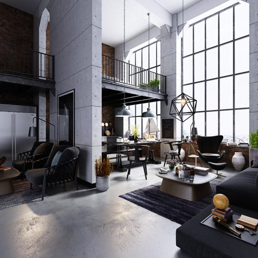 soggiorno stile industriale