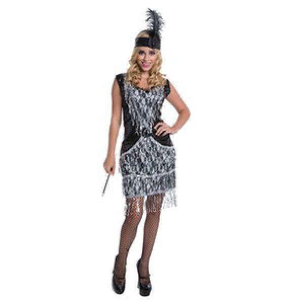 Karnevalskostueme Damen Charlston schwarz silber