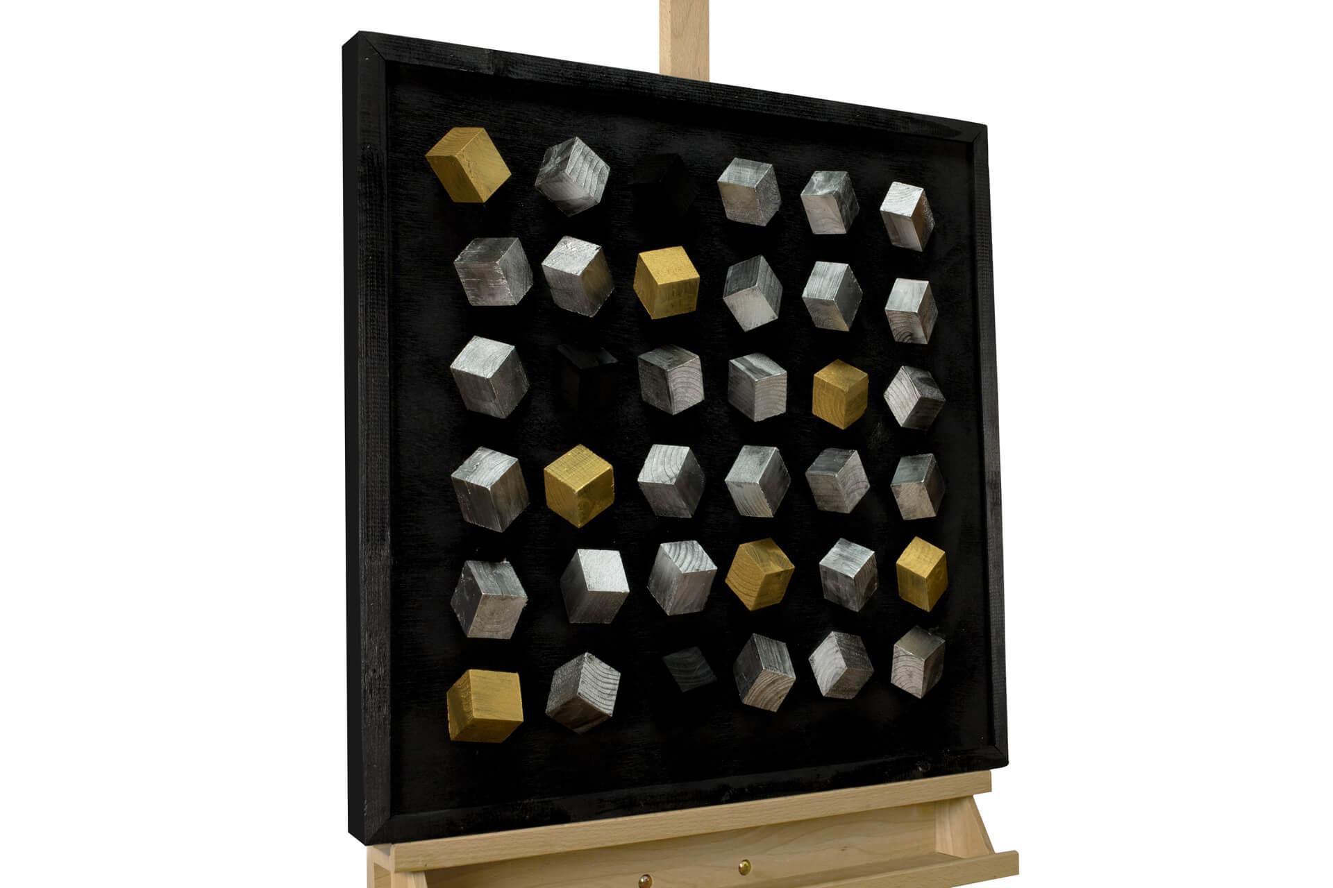 KL abstrakt gold silber holz bilder holz gemaelde relief handgefertigt modern 01