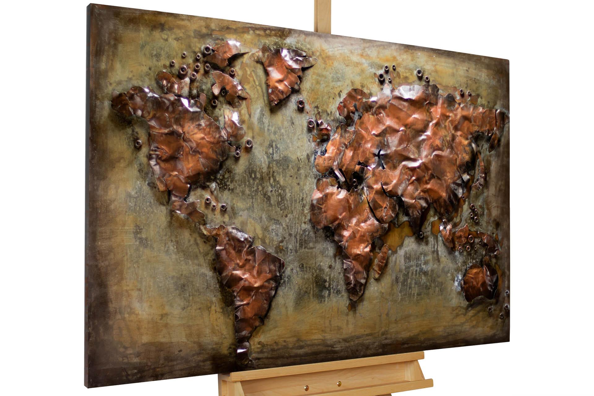 kl weltkarte landkarte erde kontinent karte metallbild 3d wandbild metall metallwandbild modern acryl gemaelde oel bild oelgemaelde 01