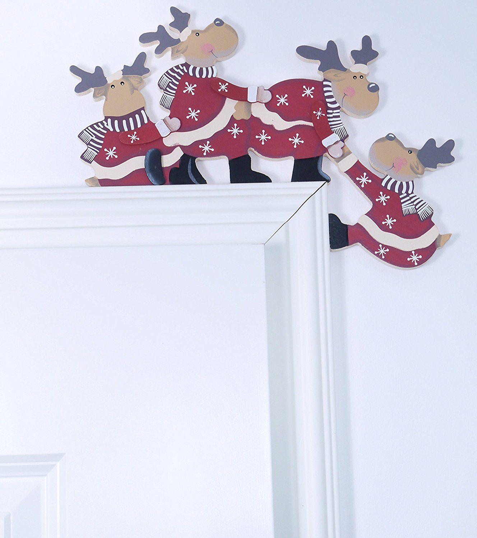Deko Aus Holzstamm Schön Werbung Khevga Weihnachtsdeko Purzelnde Elche Für Türrahmen