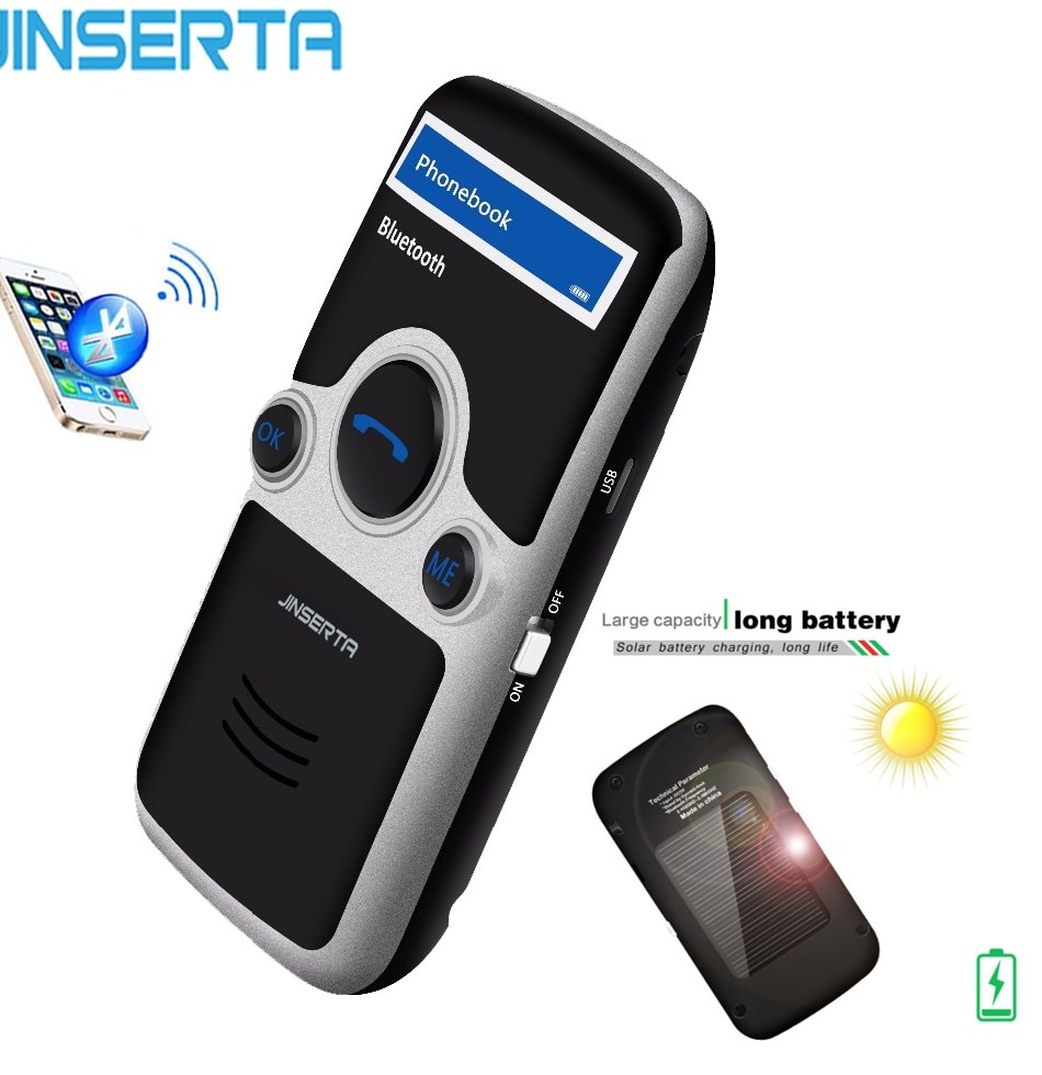 JINSERTA A6 Solar Bluetooth handsfree car kit FM font b Stereo b font Transmitter Multi Language