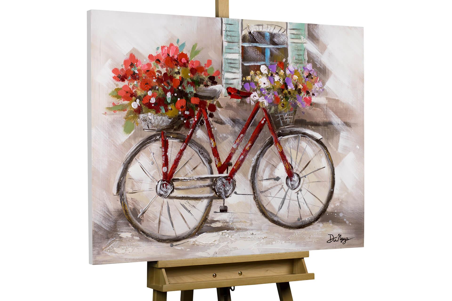 kl fahrrad blumen korb rot modern acryl gemaelde oel bild 02