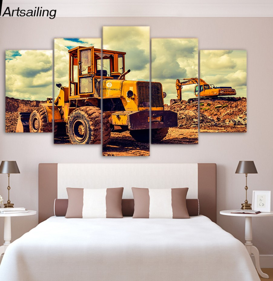 5 Panel Painting Canvas Bulldozer Wall Art Picture Home Decoration Living Room Canvas Print Painting Canvas