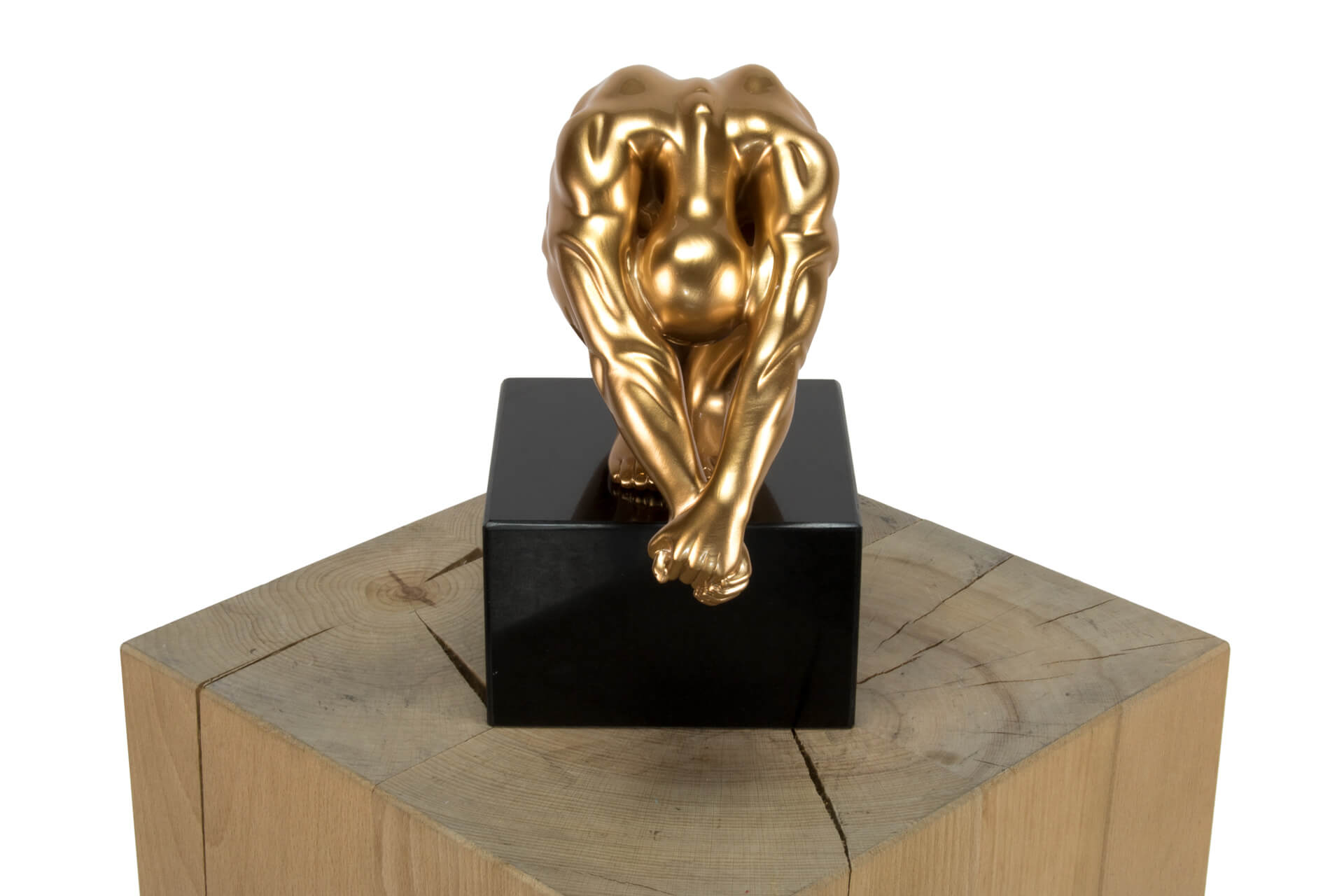KL figur mann deko gold schwarz skulptur statue aus stein figur plastik 01