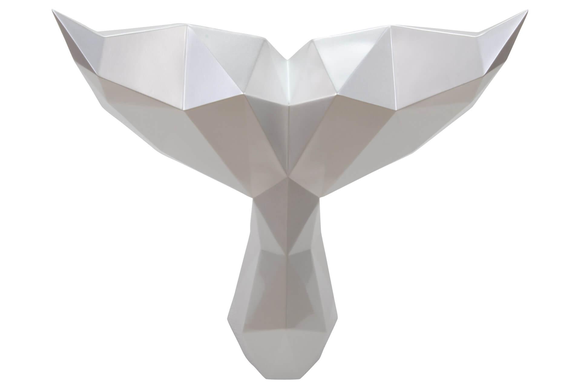 KL wal flosse deko weiss skulptur statue aus stein figur plastik 01