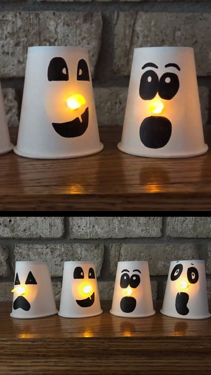 Deko Halloween Neu Incre­ble Taza De Papel Ghost Craft Para Ni±os Smiling