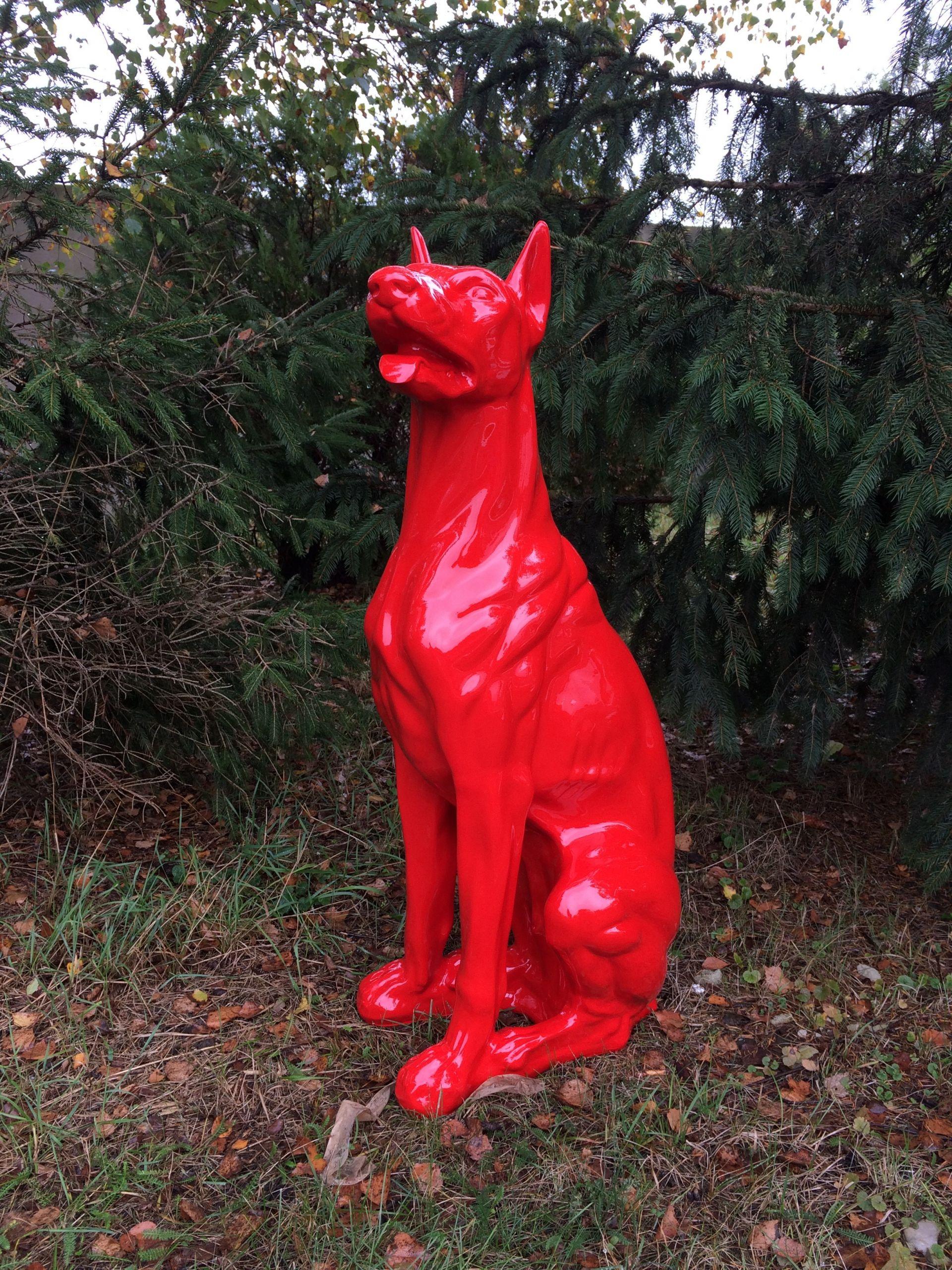 design dobermann figur hundefigur hund deko statue skulptur garten doberman