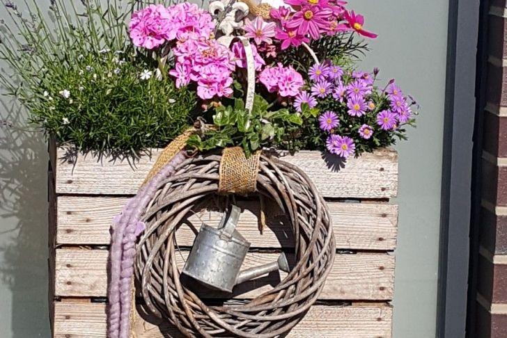 Deko Ideen sommer Luxus sommerdeko Blumendeko Haustür Eingang Deko