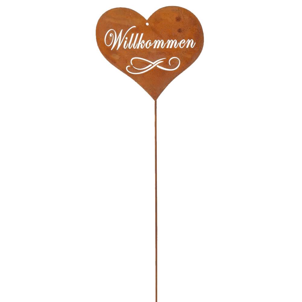 Blumenstecker Willkommen Herz Metallstecker Rostoptik Gartendeko 14x12 53 cm 1
