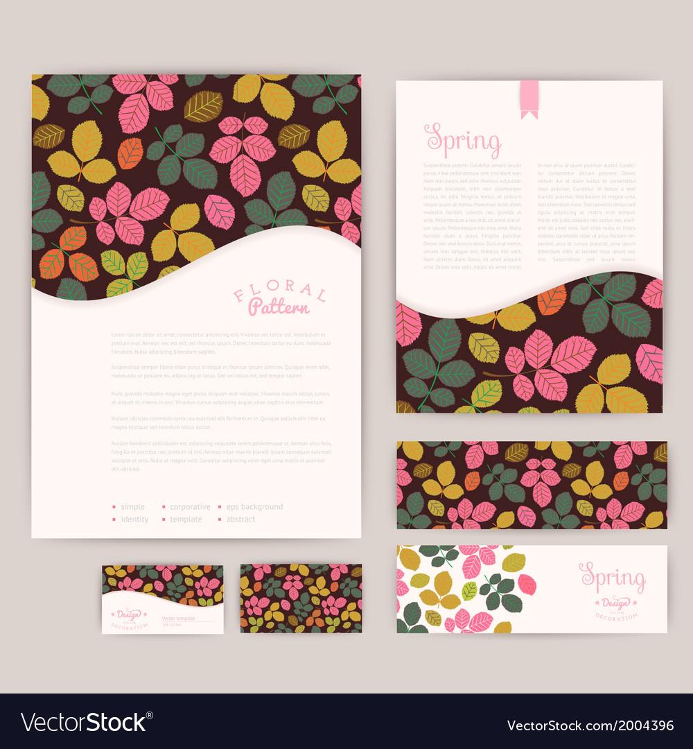 set of floral vintage wedding cards invitations vector