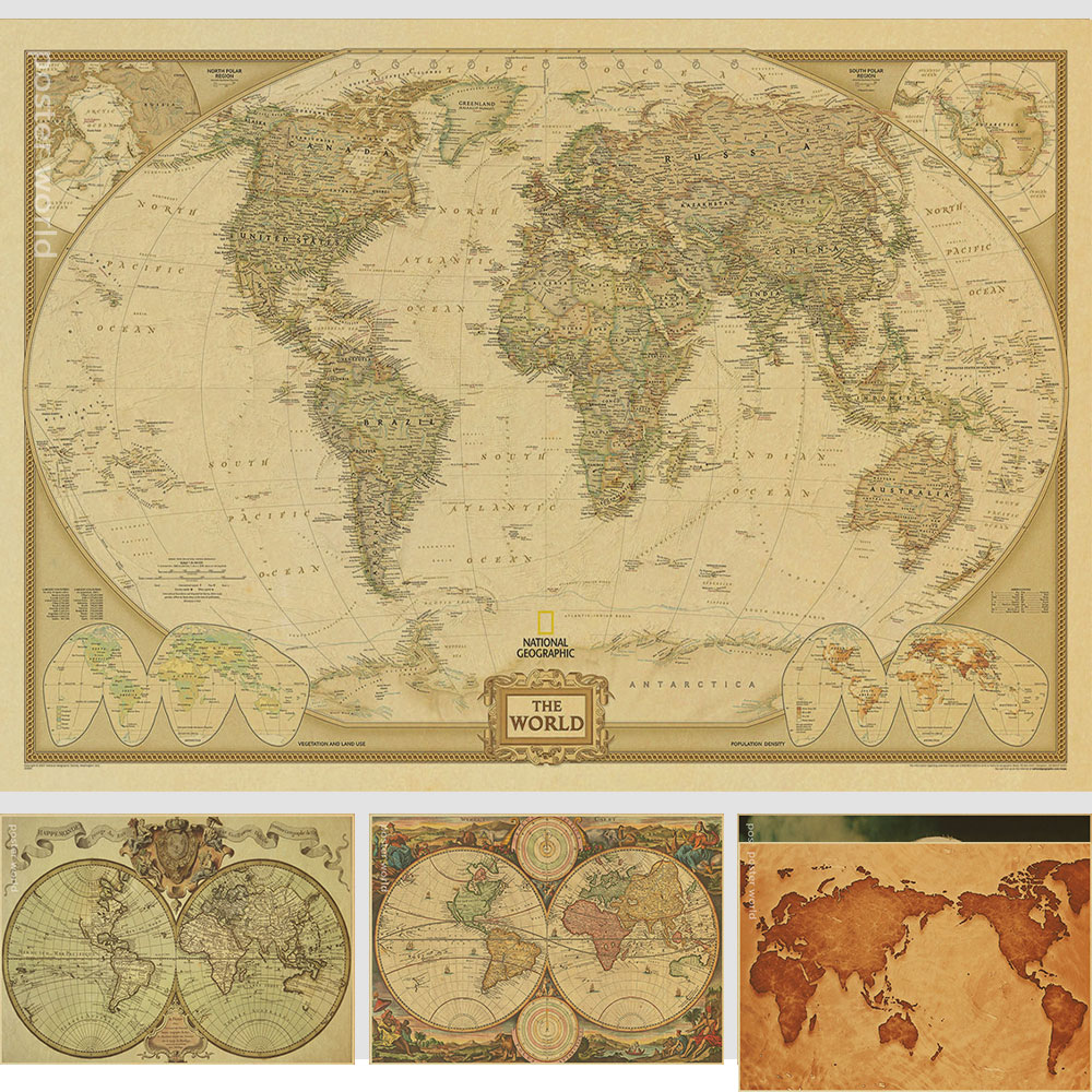 Vintage World Map Home Decoration Detailed Antique Poster Retro Cloth Poster Globe Old World Nautical Map