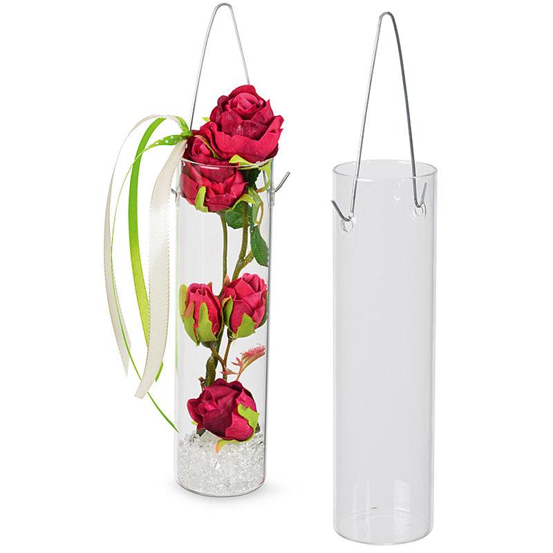 rohr vase aus glas zum haengen 18 cm