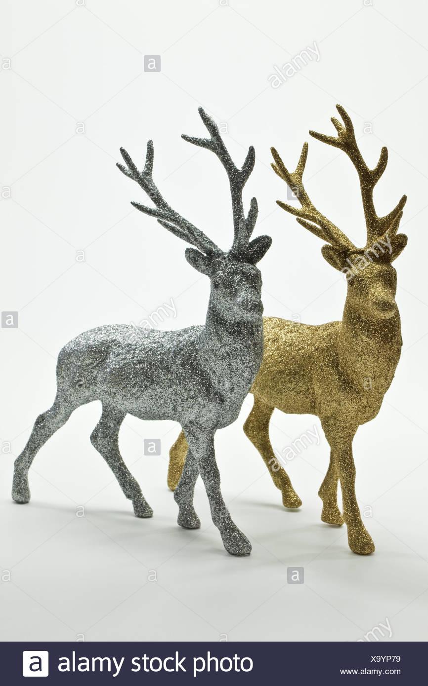 dekofiguren deer silver golden X9YP79