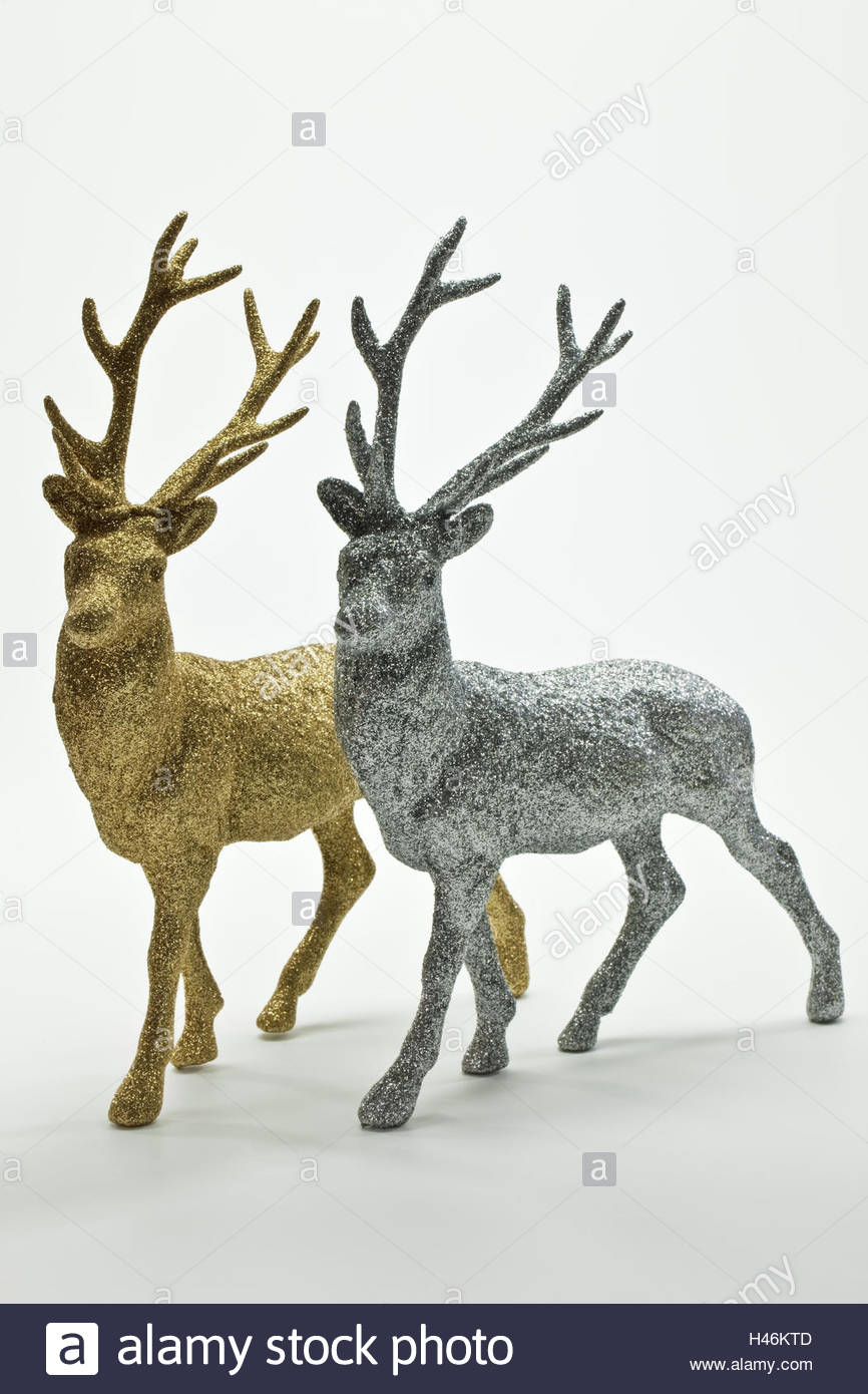 dekofiguren deer silver golden H46KTD