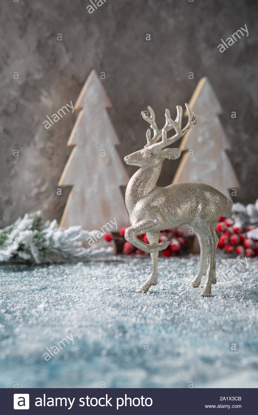christmas background with silver deer 2A1X3CB