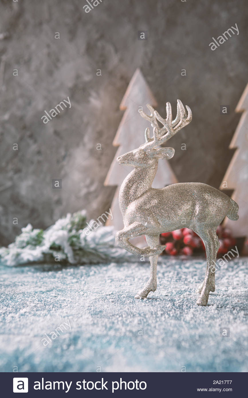 christmas background with silver deer and snow 2A217T7