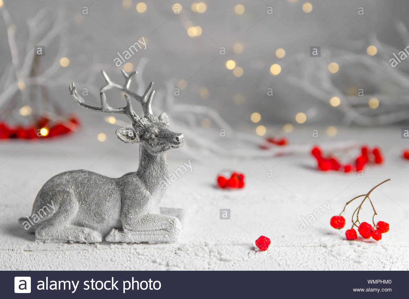 christmas new years position of silver deer and red rowan garland lights fairy forest WMPHM0