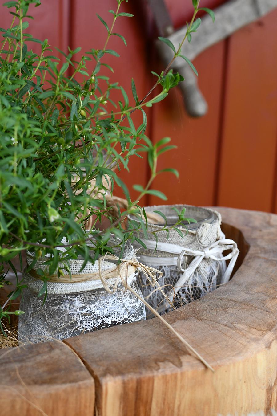 DIY fuer den Garten Natuerliche Tischdekoration selbstgemacht 02
