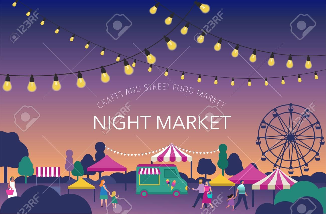 night market summer fest food street fair family festival poster and banner colorful design
