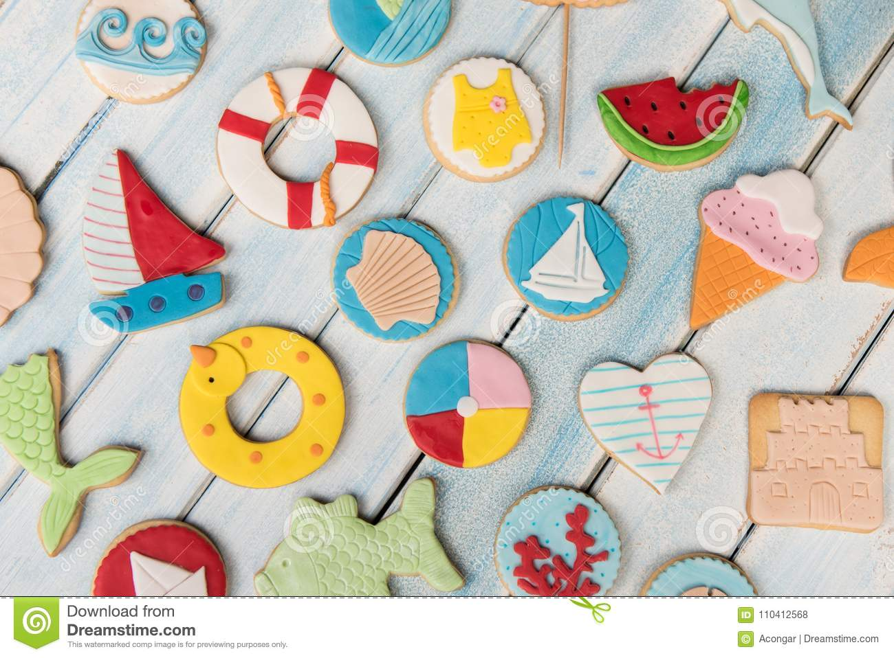 group butter cookies decorated fondant summer concept decoration