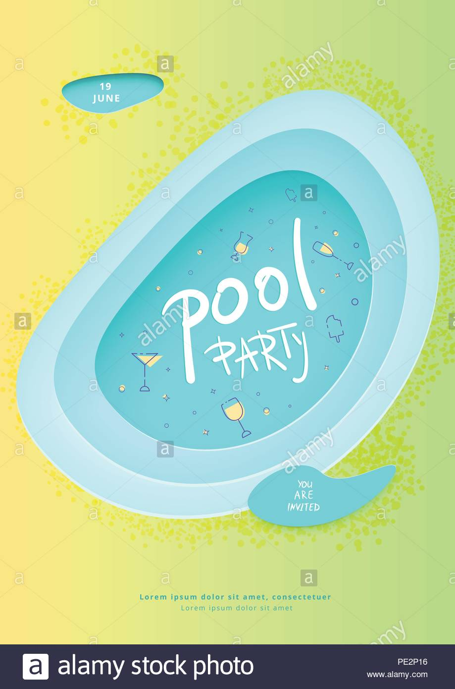 pool party vertical flyer summer celebration banner with papercut shapes and decoration template for event design vector illustration PE2P16