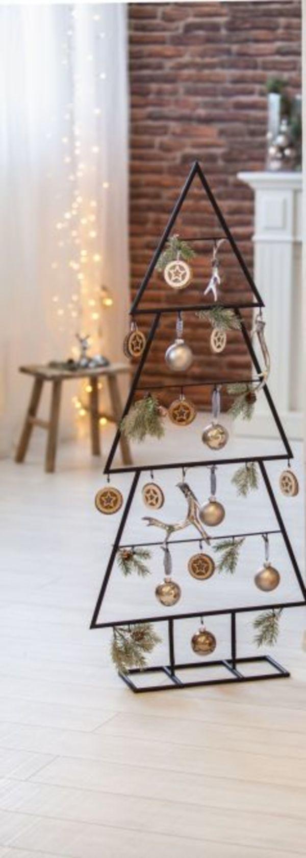 Standdeko Weihnachtsbaum Metall schwarz ohne Dekoration xxl